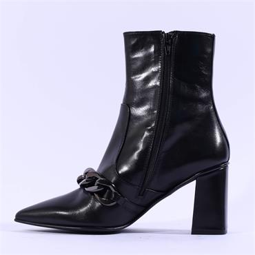 Marco Moreo Marzia Block Heel Links Boot - Black Leather