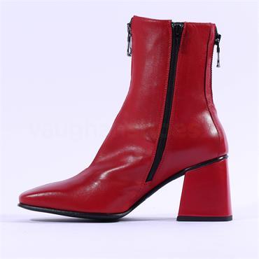 Marco Moreo Jessie Block Heel Zip Boot - Red Leather