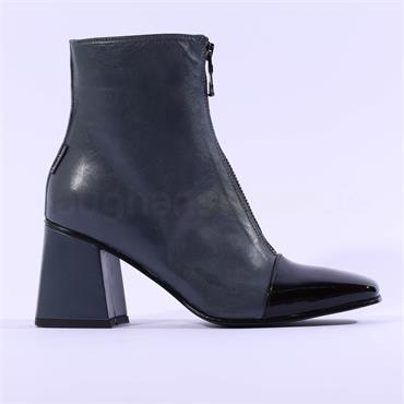 Marco Moreo Jessie ToeCap Front Zip Boot - Blue Grey Leather