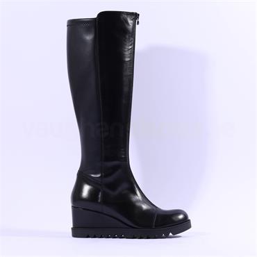 Marco Moreo Chiara Knee High Wedge Boot - Black Leather