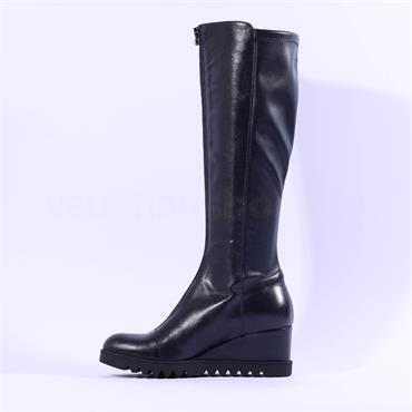 Marco Moreo Chiara Knee High Wedge Boot - Navy Leather