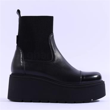 Marco Moreo Vale Platform Gusset Boot - Black Leather