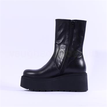 Marco Moreo Vale Platform Ankle Boot - Black Leather