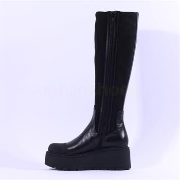 Marco Moreo Vale Knee High Stretch Boot - Black Leather
