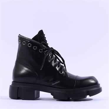 Marco Moreo Harley Laced Biker Boot - Black Leather