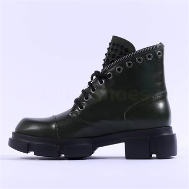 Marco Moreo Harley Laced Biker Boot - Green Leather
