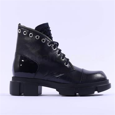 Marco Moreo Harley Laced Biker Boot - Navy Leather