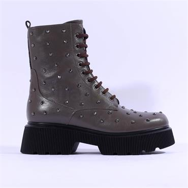 Marco Moreo Balencia Laced Studded Boot - Dark Taupe Leather