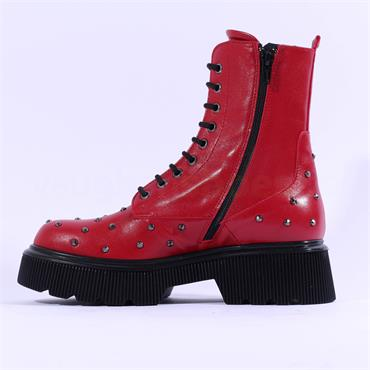 Marco Moreo Balencia Laced Studded Boot - Red Leather