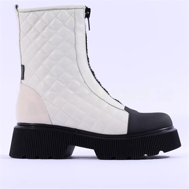 Marco Moreo Balencia Quilted Zip Up Boot - Off White Leather