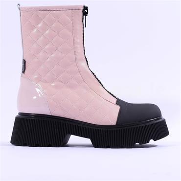Marco Moreo Balencia Quilted Zip Up Boot - Pink Leather