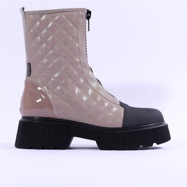 Marco Moreo Balencia Quilted Zip Up Boot - Taupe Leather