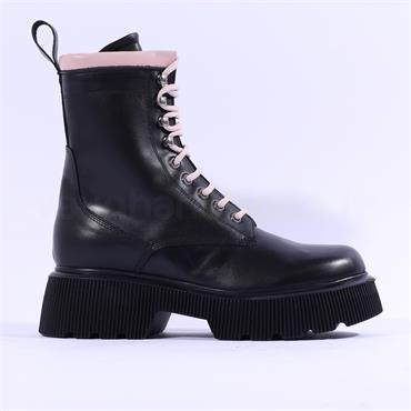 Marco Moreo Balencia Laced Military Boot - Black Pink Leather
