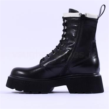 Marco Moreo Balencia Laced Military Boot - Black White Leather