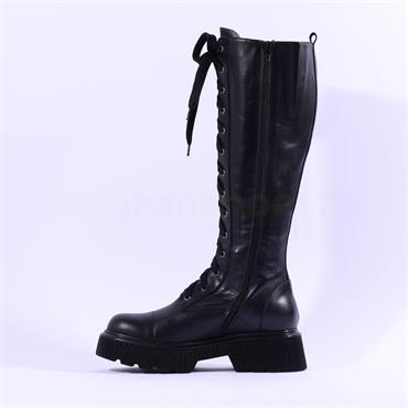 Marco Moreo Balencia Knee High Lace Boot - Black Leather
