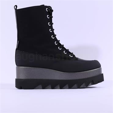 Marco Moreo Jackie Laced Up Biker Boot - Black Fabric