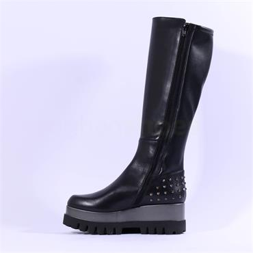 Marco Moreo Jackie Studs Knee High Boot - Black Leather