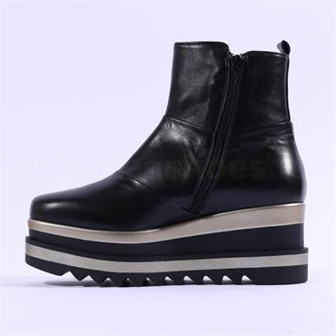 Marco Moreo Luna Side Zip Patchwork Boot - Black Gold Leather