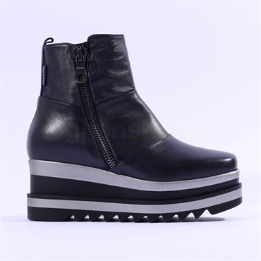 Marco Moreo Luna Side Zip Patchwork Boot - Navy Leather