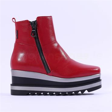 Marco Moreo Luna Side Zip Patchwork Boot - Red Leather