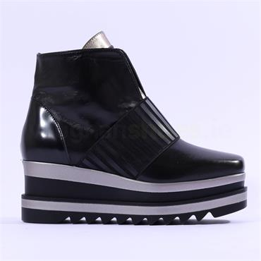 Marco Moreo Luna Stretch Band Boot - Black Leather