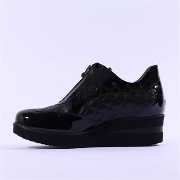 Marco Moreo Lola Quilted Front Zip Wedge - Black Patent