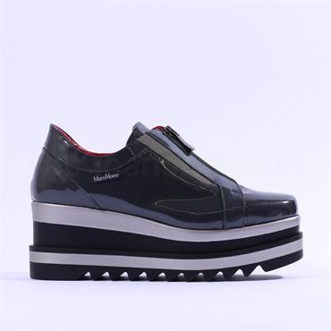 Marco Moreo Luna Front Zip Patent Shoe - Grey Patent