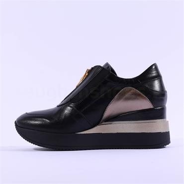 Marco Moreo Gianna Front Zip Wedge - Black Gold Leather