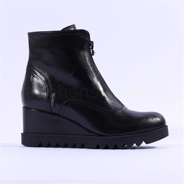 Marco Moreo Chiara Front Zip Wedge Boot - Black Leather