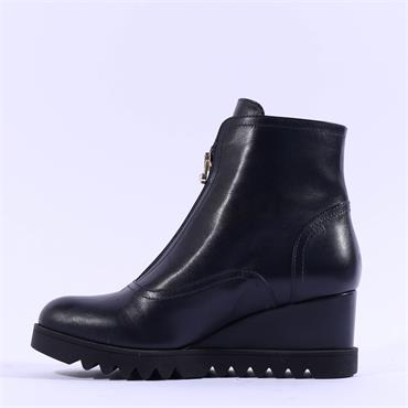 Marco Moreo Chiara Front Zip Wedge Boot - Navy Leather