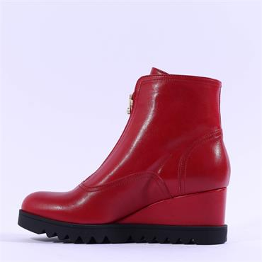 Marco Moreo Chiara Front Zip Wedge Boot - Red Leather