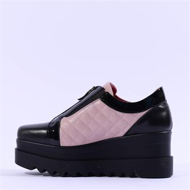 Marco Moreo Luna Front Zip Quilted Shoe - Pink Black Leather