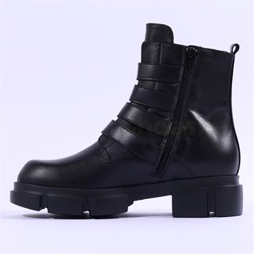 Marco Moreo Harley Diamante Strap Boot - Black Leather