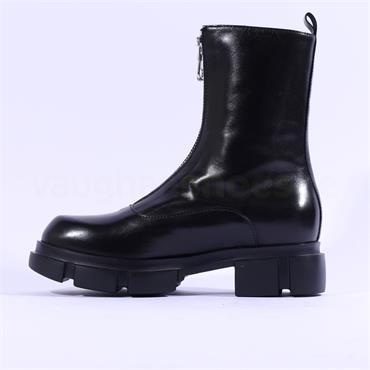 Marco Moreo Harley Front Zip Biker Boot - Black Leather