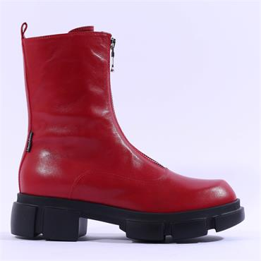 Marco Moreo Harley Front Zip Biker Boot - Red Leather