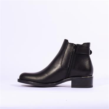 Alpe Alain Buckle Stud Strap Boot - Black Leather