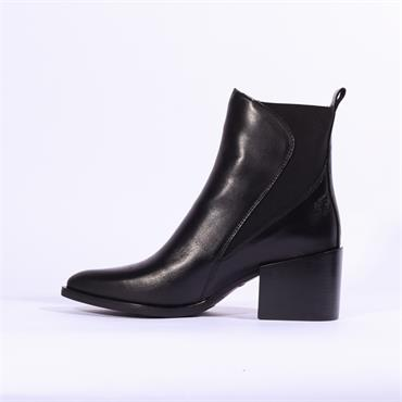 Alpe Mia Block Heel Gusset Boot - Black Leather