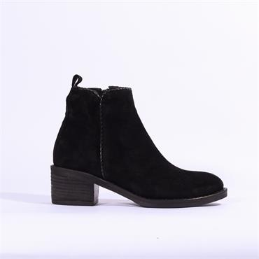 Alpe Nelly Suede Ankle Boot Weave Trim - Black
