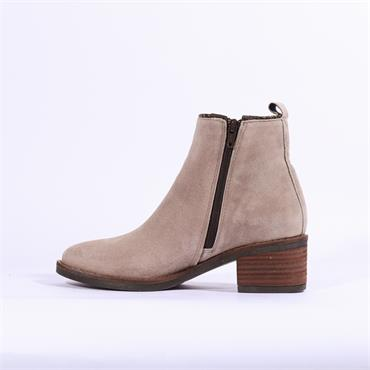 Alpe Nelly Suede Ankle Boot Weave Trim - Stone