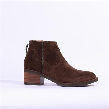 Alpe Nelly Toe Detail Ankle Boot - Brown Suede