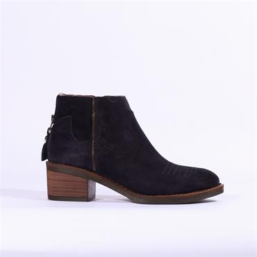 Alpe Nelly Toe Detail Ankle Boot - Navy Suede