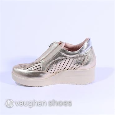 Marco Moreo Wedge Shoe Stud Zip Front - Gold