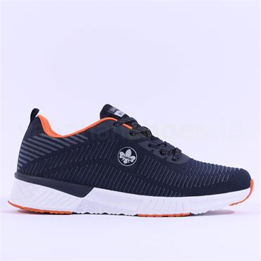 Rieker Men Trainer Knitted Upper - Navy Orange