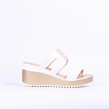 Betsy Platform Wedge Mule Sandal - White Gold