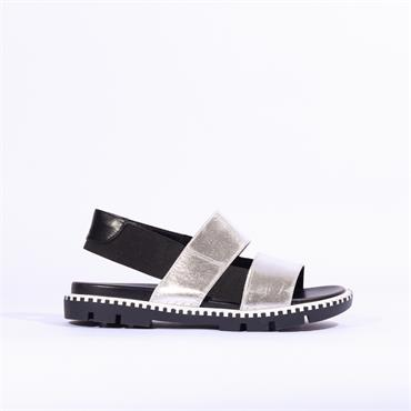 Betsy Low Cleated Sole Elastic Sandal - Black Silver