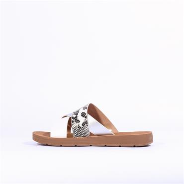 Betsy Low Mule Animal Print Sandal - White Snake