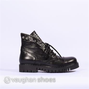 Marco Moreo Flat Boot With Zip And Stud - Black