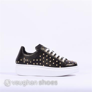 Laced Up Shoe With Stud Detail - Black