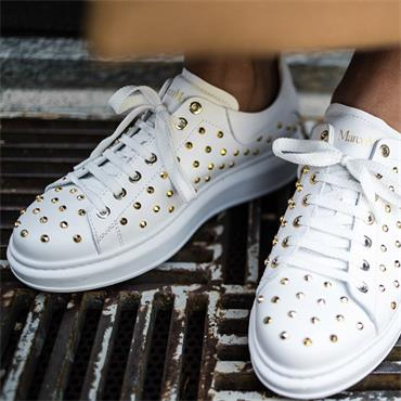 Laced Up Shoe With Stud Detail - White