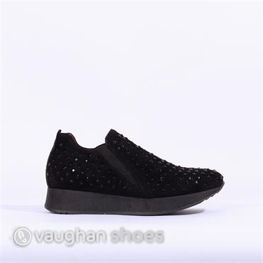 Slip On Shoe Diamante Detail - BLACK/SUEDE